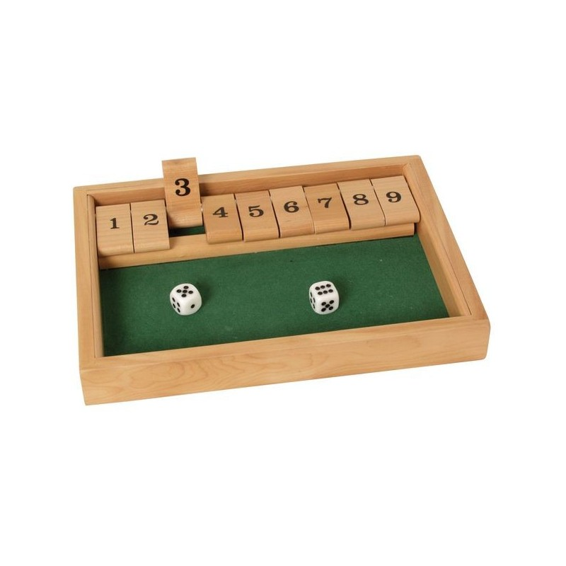 jeu fermer la boite 9 clapets en bois avec num ros de 1 9 galement appel shut the box. Black Bedroom Furniture Sets. Home Design Ideas